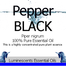 black pepper essential oil label