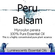 peru balsam essential oil label
