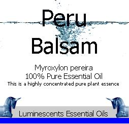 peru balsam essential oil label