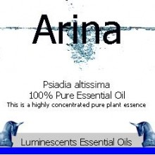 arina essential oil label