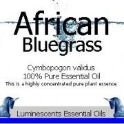 African Bluegrass essential oil label