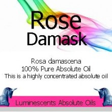 rose damask absolute oil label