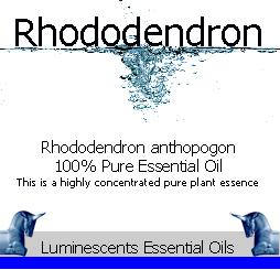 Rhododendron essential oil label